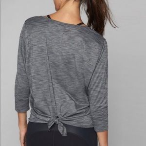 Athleta Gray Monarch 3/4 Sleeve Top Size medium